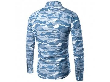 Camisa Masculina Slim Camuflada Manga Longa - Azul Claro