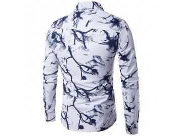 Camisa Masculina Slim Estampada Manga Longa - Preto