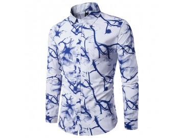 Camisa Masculina Slim Estampada Manga Longa - Azul