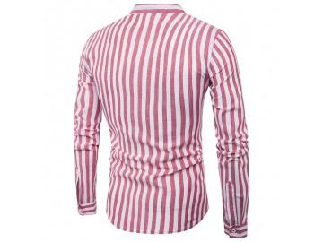 Camisa Masculina Slim Listrada Manga Longa - Vermelho
