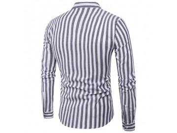 Camisa Masculina Slim Listrada Manga Longa - Preto