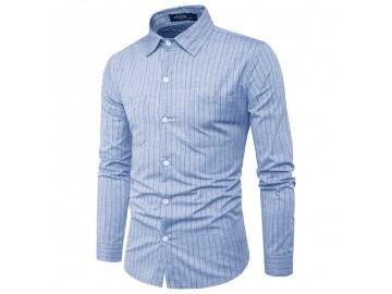 Camisa Masculina Slim com Riscas Verticais Manga Longa - Blue