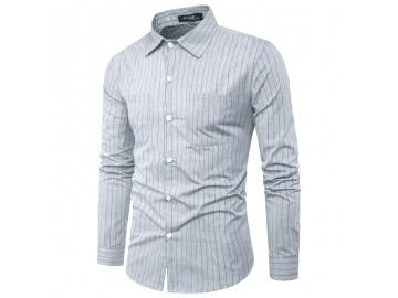 Camisa Masculina Slim com Riscas Verticais Manga Longa - Cinza