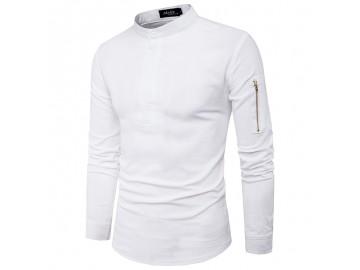 Camisa Masculina Slim Casual Manga Longa - Cinza