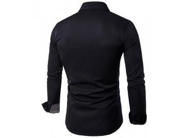 Camisa Masculina Slim Com Estampas Manga Longa - Preto