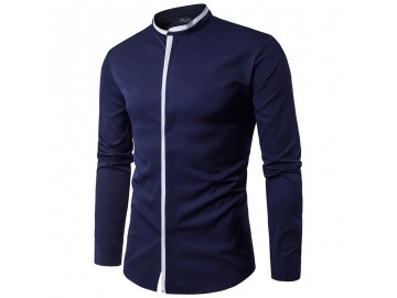 Camisa Masculina Slim Casual Manga Longa - Azul Marinho