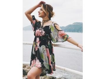 Vestido Curto Flora Recorte Manga Curta - Preto