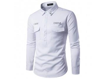 Camisa Masculina Slim Casual Manga Longa - Branco