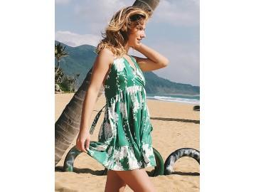 Vestido Curto Babado com Laço nas Costas - Verde