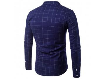Camisa Masculina Slim Casual Com Riscas Manga Longa - Azul Marinho