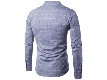 Camisa Masculina Slim Casual Com Riscas Manga Longa - Cinza