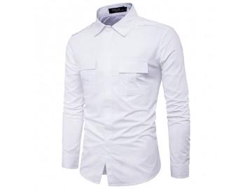 Camisa Masculina Slim Casual Com Bolso Frontal Duplo Manga Longa - Branco
