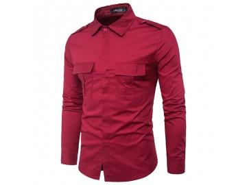 Camisa Masculina Slim Casual Com Bolso Frontal Duplo Manga Longa - Vermelho Escuro