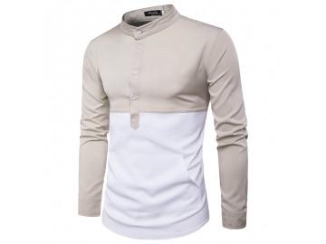 Camisa Masculina Slim Casual Bicolor Bolso Frontal Manga Longa - Bege e Branco