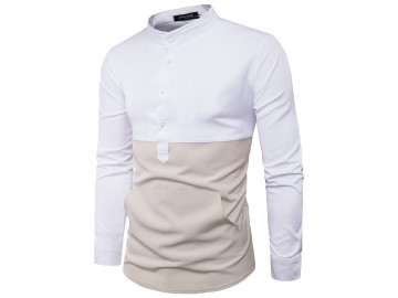 Camisa Masculina Slim Casual Bicolor Bolso Frontal Manga Longa - Branco e Bege