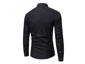 Camisa Masculina Slim Com Bolso Duplo Manga Longa - Preto