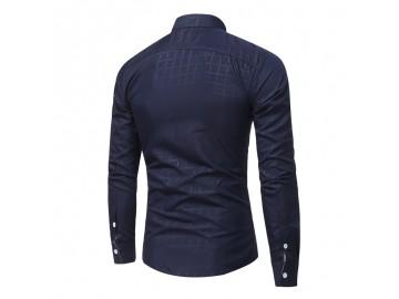 Camisa Masculina Slim Com Bolso Embutido Manga Longa - Azul Marinho