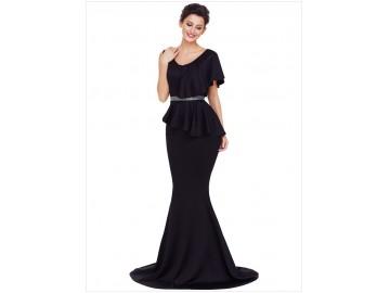 Vestido Longo Elegante Assimétricos - Preto