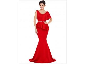 Vestido Longo Elegante Assimétricos - Vermelho