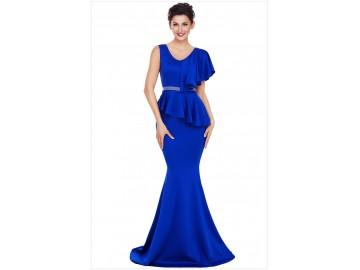 Vestido Longo Elegante Assimétricos - Azul