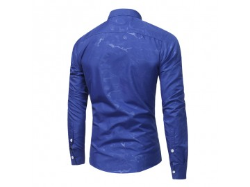 Camisa Masculina Slim Casual Estampada Manga Longa - Azul Royal