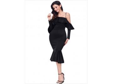 Vestido Elegante Assimétrico Babado - Preto