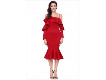 Vestido Elegante Assimétrico Babado - Vermelho