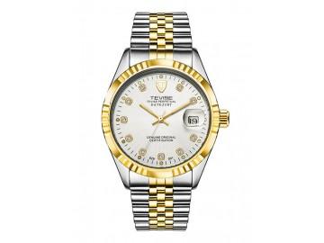 Relógio Tevise T629 Masculino Automático Pulseira de Aço - Branco e Dourado