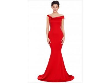 Vestido Longo Elegante Ombro Único - Vermelho