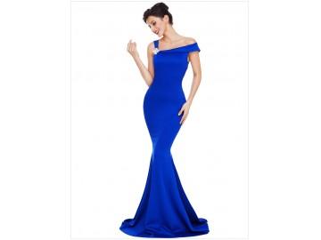 Vestido Longo Elegante Ombro Único - Azul