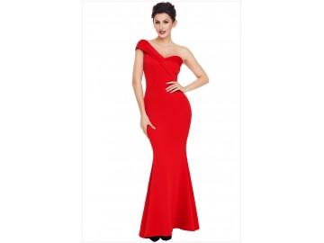 Vestido Longo Elegante Assimétrico Ombro Único - Vermelho
