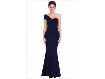 Vestido Longo Elegante Assimétrico Ombro Único - Azul Escuro