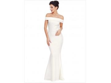Vestido Longo Elegante Babado nas Costas Ombro a Ombro - Branco