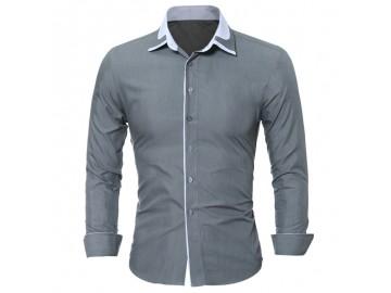 Camisa Masculina Slim Manga longa - Cinza