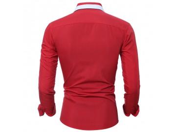 Camisa Masculina Slim Manga longa - Vermelho