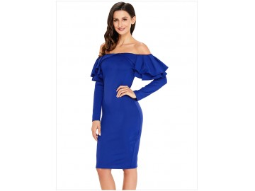 Vestido Elegante Babado Manga Longa - Azul
