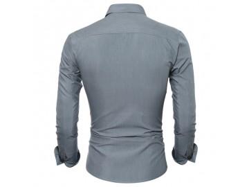 Camisa Masculina Slim Detalhe Xadrez Manga longa - Cinza
