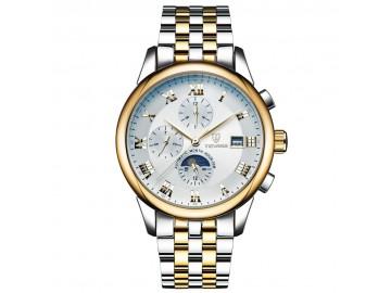 Relógio Tevise 9008 Masculino Automático Pulseira de Aço - Branco e Dourado