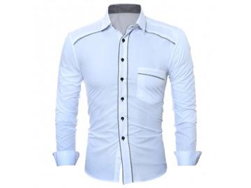 Camisa Masculina Slim Detalhe Xadrez Manga longa - Branco