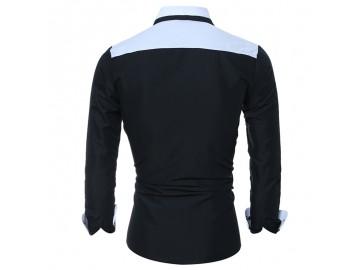 Camisa Masculina Slim Bicolor Manga longa - Preto