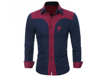 Camisa Masculina Slim Bicolor Manga longa - Azul Marinho