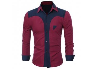 Camisa Masculina Slim Bicolor Manga longa - Vinho