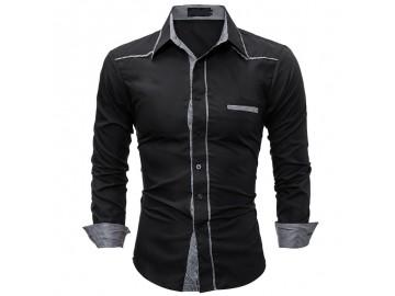 Camisa Masculina Slim Detalhe Xadrez Manga longa - Preto