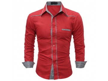 Camisa Masculina Slim Detalhe Xadrez Manga longa - Vermelho