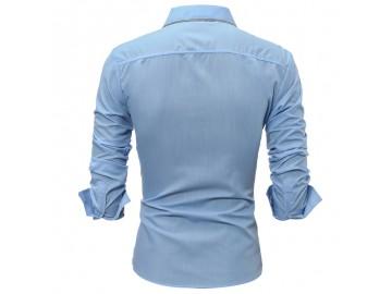 Camisa Masculina Slim Detalhe Xadrez Manga longa - Azul Claro