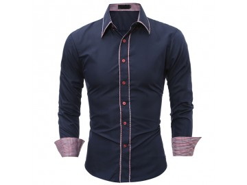 Camisa Masculina Slim Detalhe Xadrez Manga longa - Azul Marinho