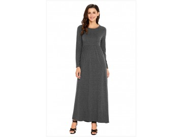 Vestido Longo Manga Longa - Cinza