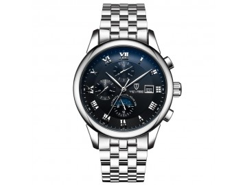 Relógio Tevise 9008 Masculino Automático Pulseira de Aço - Branco e Preto