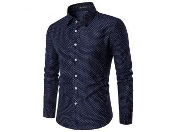 Camisa Masculina Slim Point Poás Manga longa - Azul Marinho