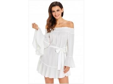 Vestido Curto Ombro a Ombro Manga Sino - Branco
